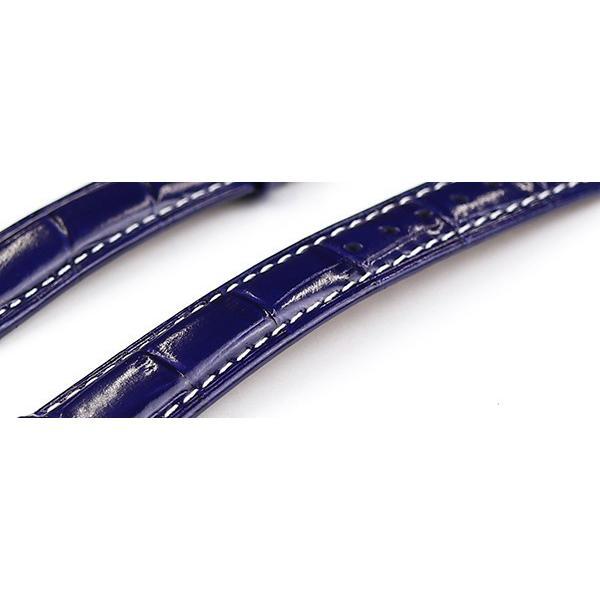 腕時計 レザー ベルト 18mm 19mm 20mm 22mm ネイビー 紺 白 ステッチ クロコダイル型押し 牛革 ピンバックル シルバー l002-wh-n-s 腕時計 交換 ベルト