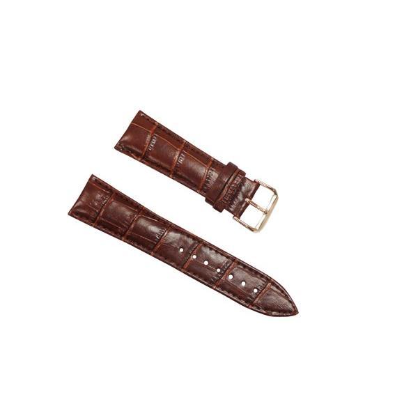 腕時計 ベルト 24mm レザー ダークブラウン ピンインバックル ピンクゴールド 交換用工具付