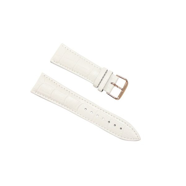 腕時計 ベルト 18mm レザー 白 ピンインバックル ピンクゴールド 交換用工具付