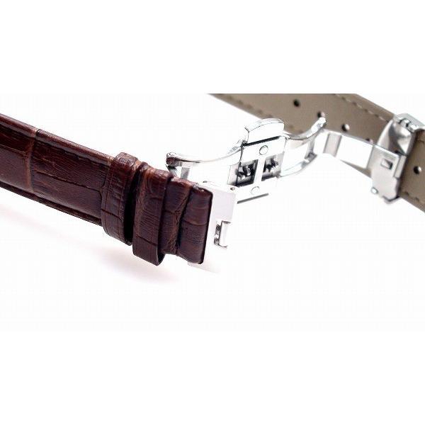 腕時計 ベルト 20mm レザー こげ 茶 プッシュ式DバックルS 工具付