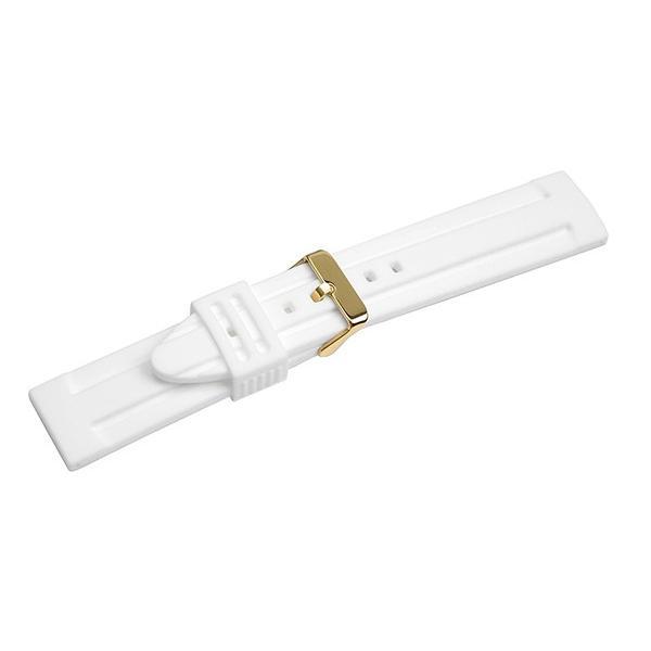 腕時計 ラバー ベルト 18mm 20mm 22mm 24mm 白 ホワイト シリコン ピンバックル イエローゴールド yn-wh-y バンド 交換