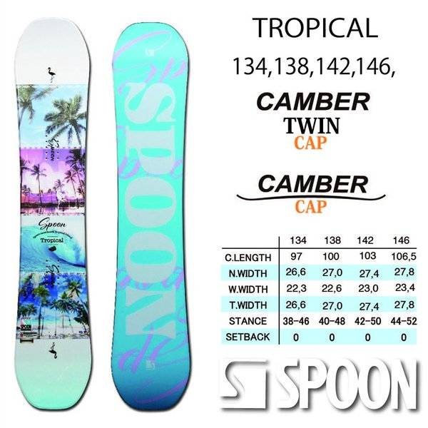 スノーボード ボード 板 SPOON TROPICAL 2020モデル レディス ローキャンバー