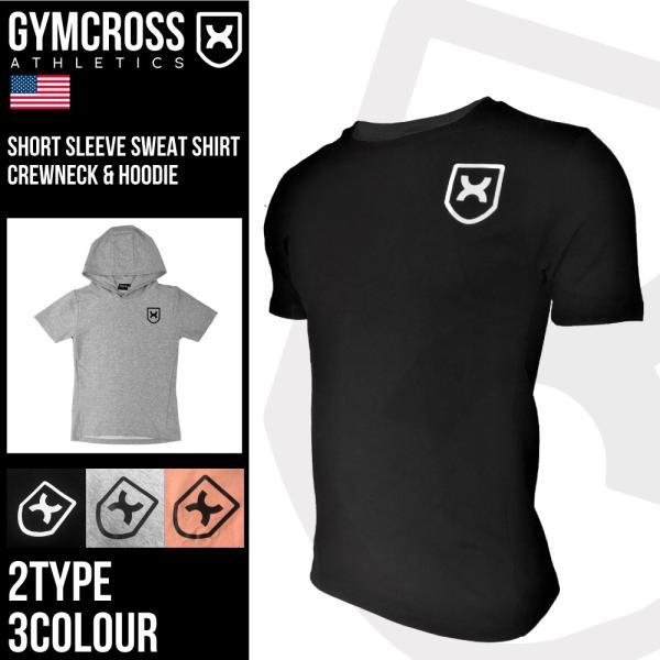 フィットネスウェア 半袖スウェット トレーナー メンズ GYMCROSS ジムクロス ストレッチ トレーニング パーカー gc-063|gymcross7x