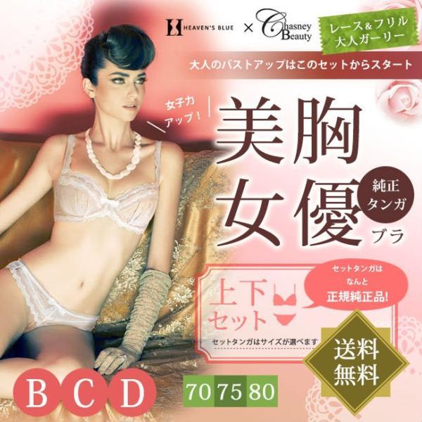 送料無料 チェスニー ビューティー ブラジャー セール 上下セット | 美胸女優ブラ2020 大人のバストアップ スタートセット | 大きいサイズ インポート|h-blue