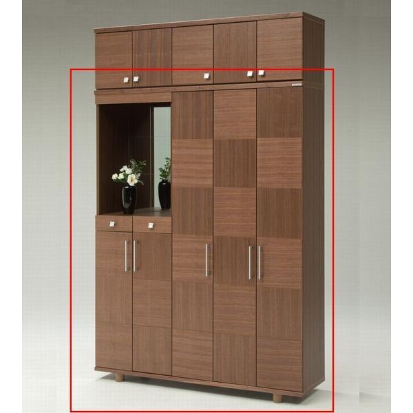 下駄箱  シューズボックス 飾り棚 鏡付き 引き出し付き 150 日本製 完成品 大川家具 木製 ウォールナット サクラ おしゃれ 大容量 開梱設置送料無料|habitz-mall