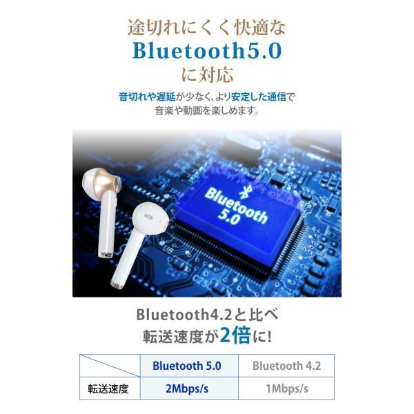 ワイヤレスイヤホン 自動ペアリング Bluetooth5.0 イヤホン 完全ワイヤレスイヤホン 左右分離型 完全独立型 両耳 片耳 iPhone Android ブルートゥース5.0|hac2ichiba|05