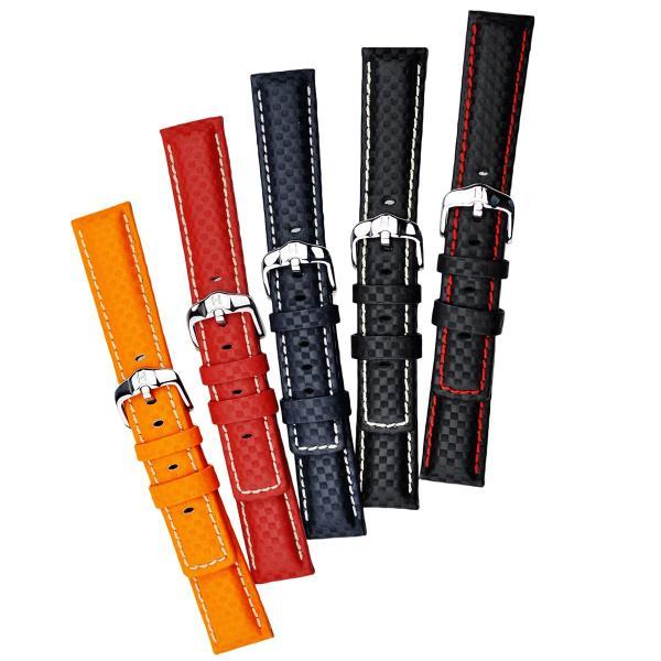 HIRSCH ヒルシュ CARBON カーボン 腕時計用 レザーベルト サイズ:E18 E20 E22 E24