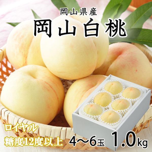 桃 岡山白桃 ロイヤル 4〜8玉 約1kg 岡山県産 JAおかやま もも モモ