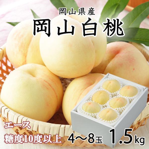 桃 岡山白桃 エース 4〜8玉 約1.5kg 岡山県産 JAおかやま もも モモ