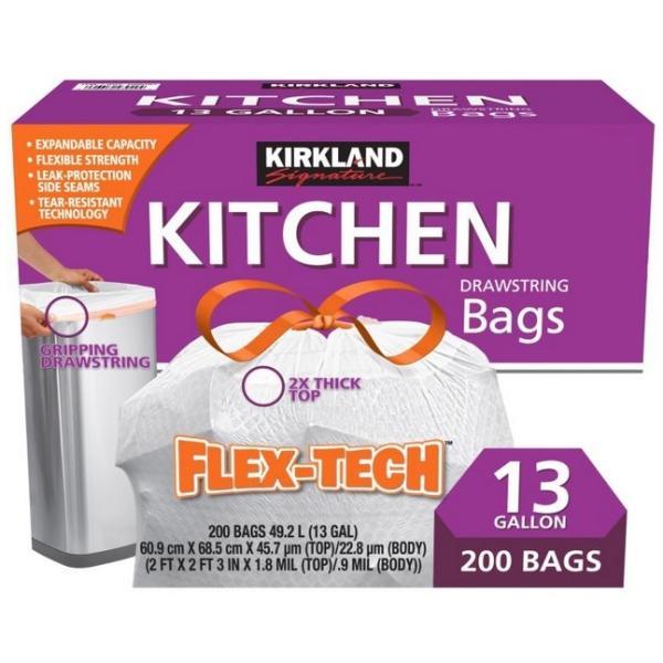 即納 カークランドシグネチャー ひも付きゴミ袋 キッチンバッグ ごみ袋 200枚 コストコ カークランド