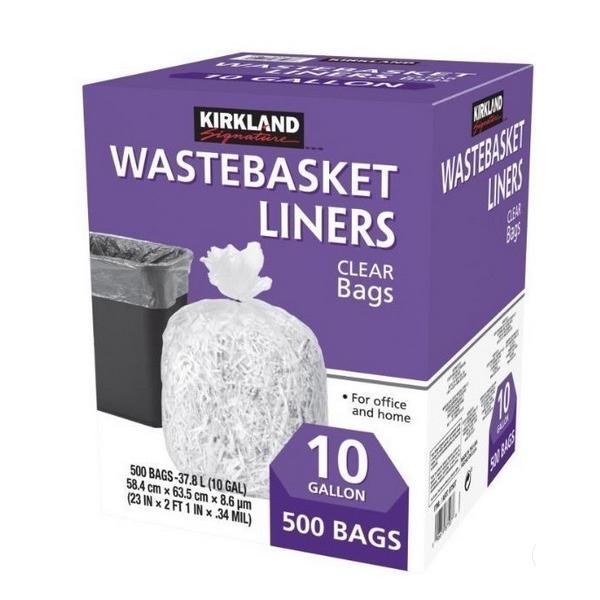 カークランドシグネチャー ごみ袋 500枚入 WASTEBASKET LINERS 透明 10ガロン37.8L (58.4cm×63.5cm×8.6μm) オフィス用 家庭用 ゴミ袋 コストコ カークランド