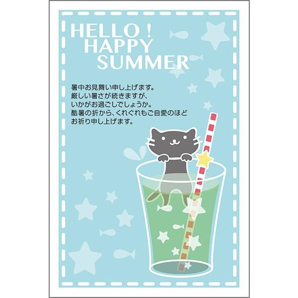 官製はがき 10枚  暑中見舞い ハガキ 夏 挨拶状 葉書 暑中 はがき SSA-03  猫 ねこ