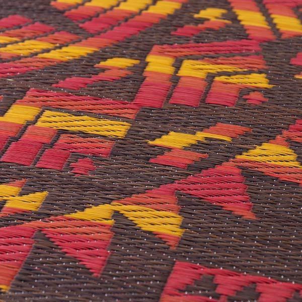 い草ラグ アステカ 約180cm丸(約2畳) 丸型 円型 室内アウトドア ネイティブ柄  オルテガ柄 アステカ柄 民族柄 センターラグ|hagihara6011|05