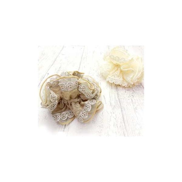 シュシュ レース オーガンジー 花柄 ヘアアクセサリー 大きめ カレス ゆうパケット対応