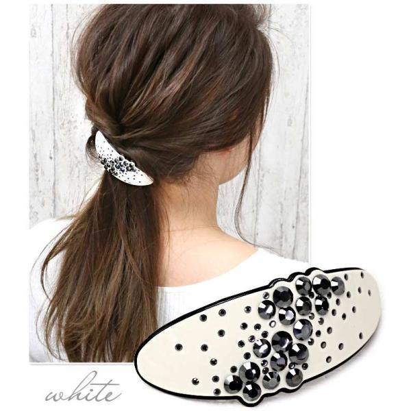 バレッタ クリスタル キラキラ ストーン エナメル バイカラー 贅沢 綺麗 可愛い ヘアアクセサリー 髪飾り リーメル