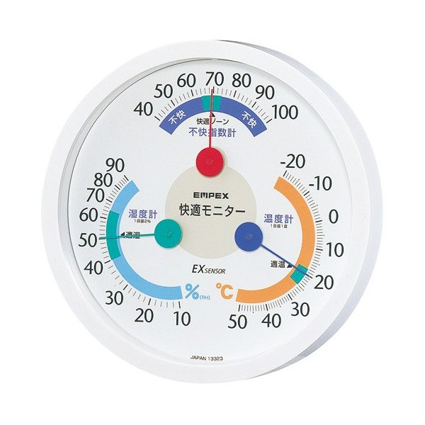 エンペックス 温湿度計 エンペックス アナログ 日本製 快適計 壁掛け 快適モニター(温度・湿度・不快指数計) CM-6381