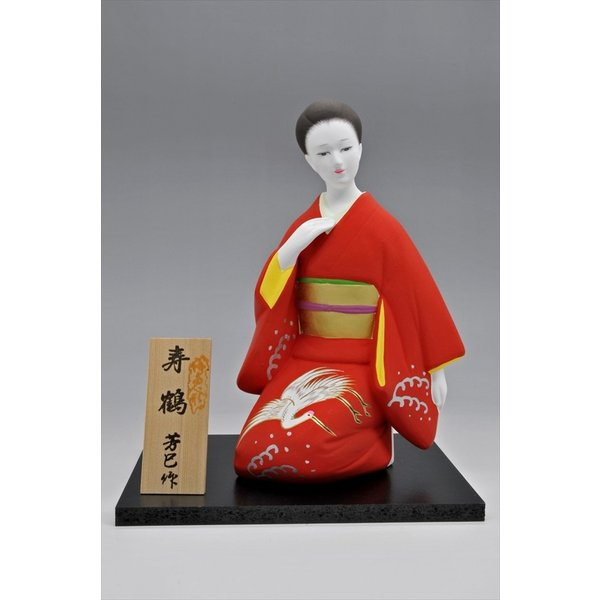 博多人形 【寿 鶴 (女性人形)】 和服姿の美しさ。コンパクトでお手頃です。|hakata-honpo|02