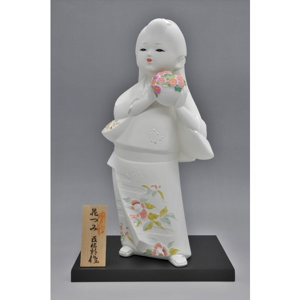 博多人形 【花つみ】 白い花の妖精みたいな人形 hakata-honpo
