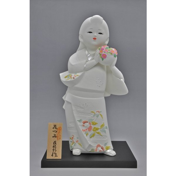 博多人形 【花つみ】 白い花の妖精みたいな人形 hakata-honpo 02