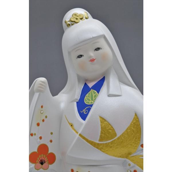 博多人形 【祝 鶴】 各種御祝・ギフトにお奨め。施された金の鶴が、ひときわ美しい!(人形ケース付き)|hakata-honpo|04