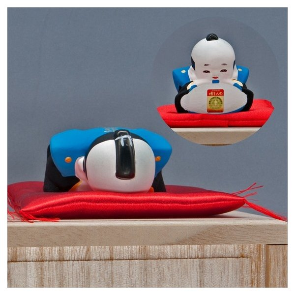博多人形 【三福三(さんぷくさん)福助】  福を招くと言われる福助さん。|hakata-honpo|05
