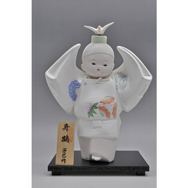博多人形 【寿 鶴】  ご多幸を祈って「鶴」を舞う|hakata-honpo|02