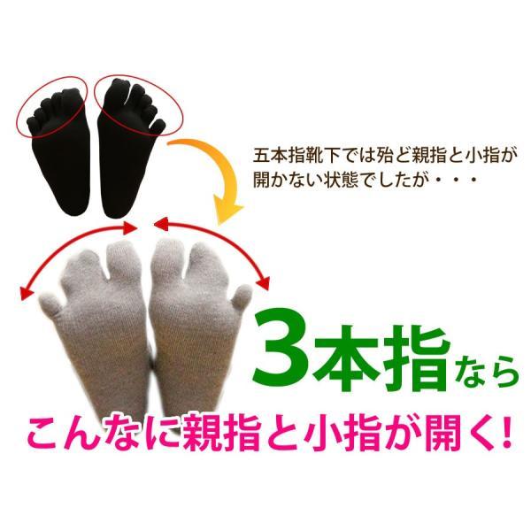 三本指靴下 ロークルー丈 サポーター たびソックス 外反母趾 レディース メンズ|hakigokochi-sore|03