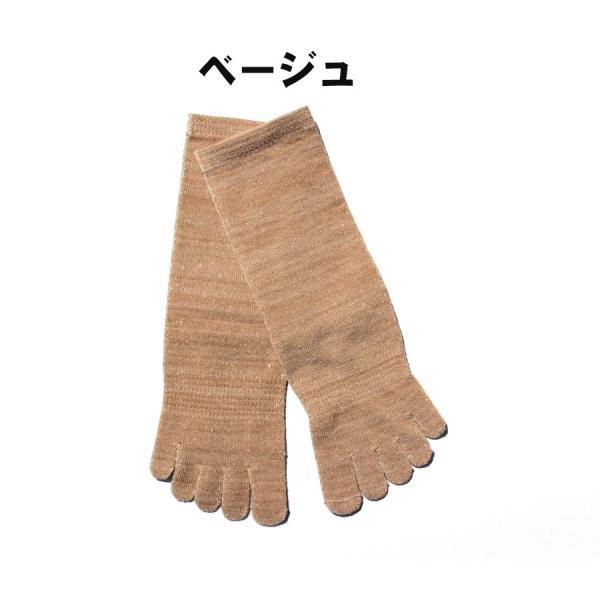 日本製 内絹外綿 五本指 シルクソックス クルー丈 hakigokochi-sore 03