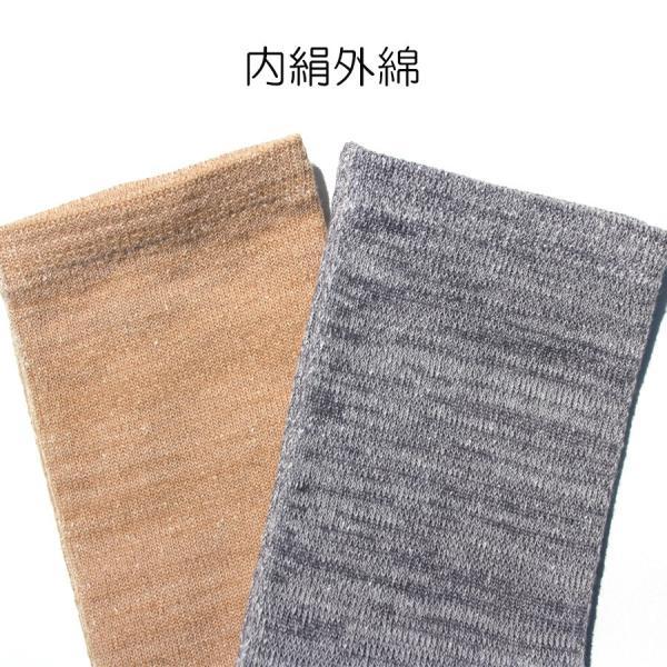 日本製 内絹外綿 五本指 シルクソックス クルー丈 hakigokochi-sore 04