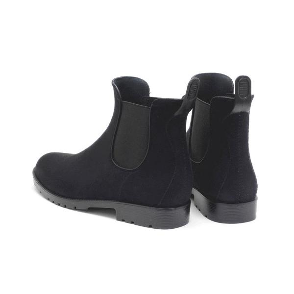 晴雨兼用 スエード素材のおしゃれなサイドゴアレインブーツ ブラック