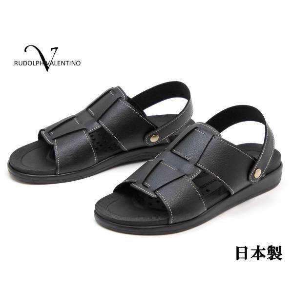 RUDOLPH VALENTINO メンズ  2WAY バックバンドサンダル 日本製 ブラック|hakimonoya