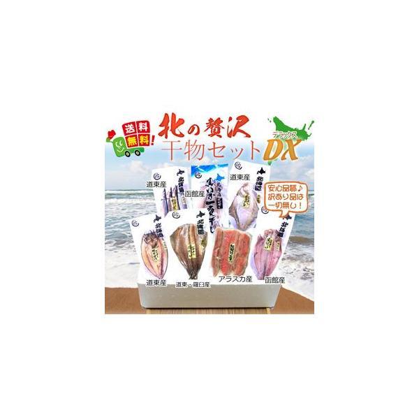 送料無料 干物セット 詰め合わせ) 北海道 北の贅沢干物セットDX (紅鮭ハラス 縞ホッケ 鯖 イカ 宗八 真ホッケ サンマ (お歳暮 ギフト 訳あり無し