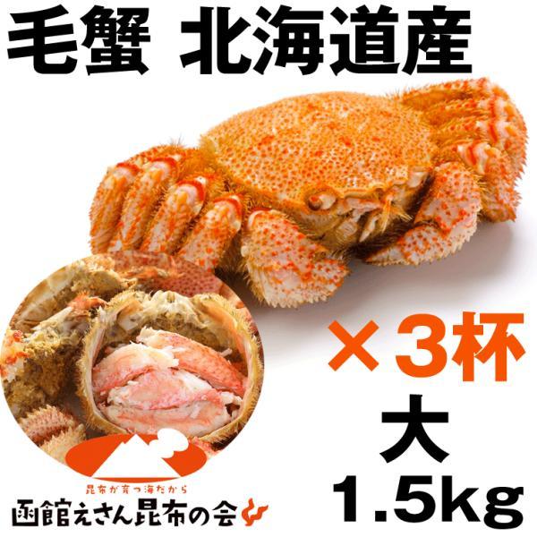 毛ガニ 1kg半 送料無料 北海道産 毛ガニ 1.5キロ強(500g強×3杯) 毛ガニ ボイル冷凍 毛蟹 レシピ付き お歳暮 訳あり無し
