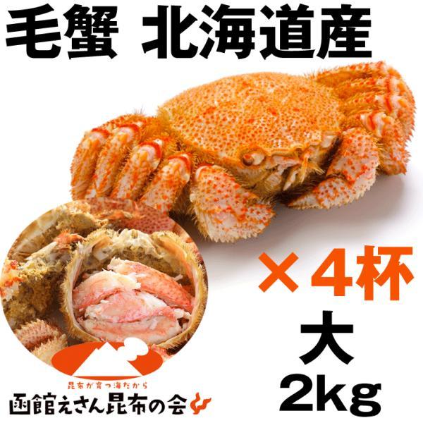 毛ガニ 2kg 送料無料 北海道産 毛ガニ 2キロ強(500g強×4杯) 毛ガニ ボイル冷凍 毛蟹 レシピ付き お歳暮 訳あり無し