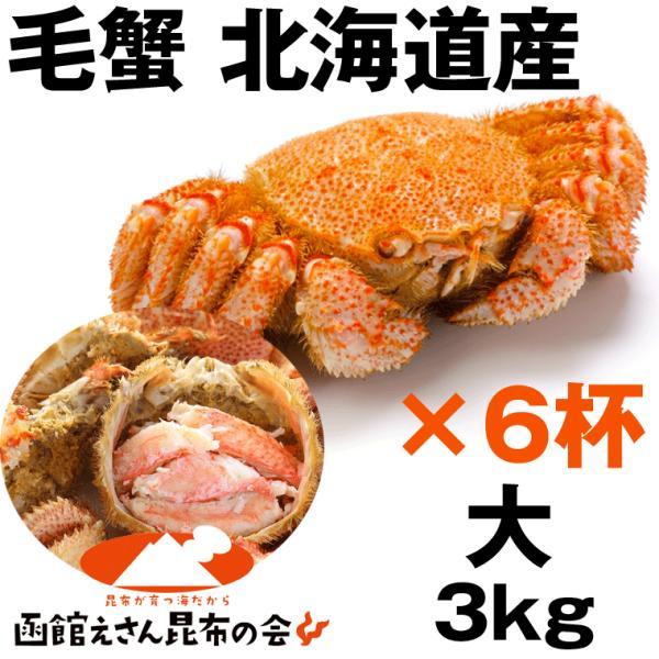 毛ガニ 3kg 送料無料 北海道産 毛ガニ 3キロ強(500g強×6杯) 毛ガニ ボイル冷凍 毛蟹 レシピ付き お歳暮 訳あり無し
