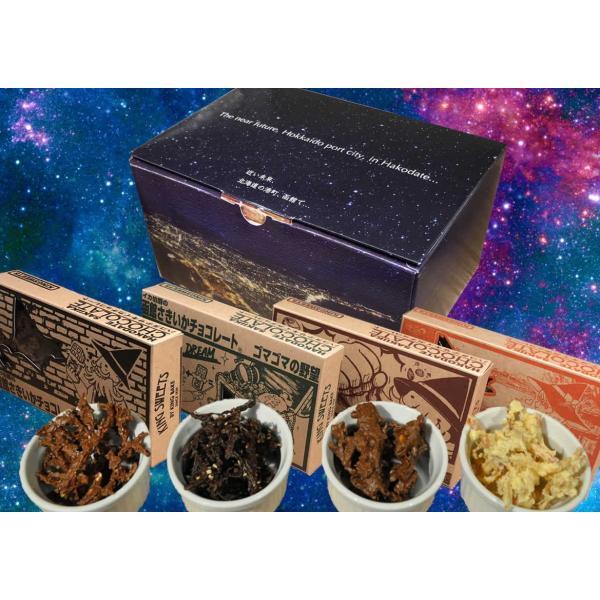 甘辛い 函館の新お土産「イカ伯爵の函館さきいかチョコレート4個セット」チョコレート菓子さきいか函館こがねおつまみ B:冷蔵便
