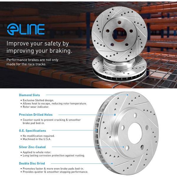 FRONT eLine Drilled Slotted Brake Rotors /& Ceramic Brake Pads