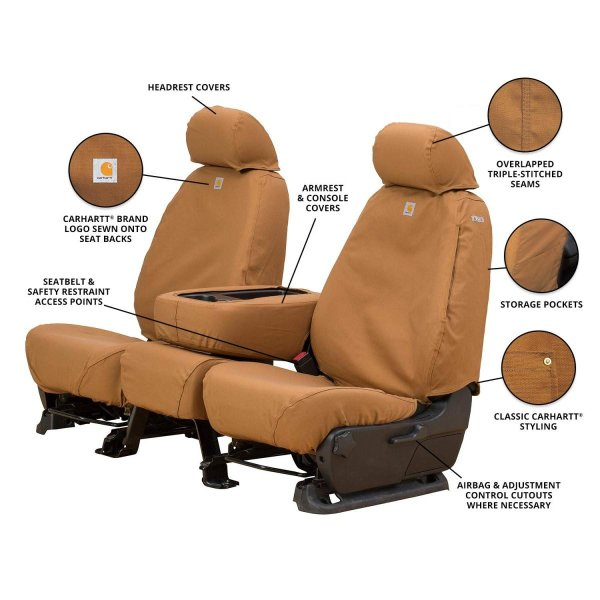 Covercraft Carhartt SeatSaver Front Row Custom Fit Seat Cover for Select Chevrolet//GMC Models Duck Weave Brown