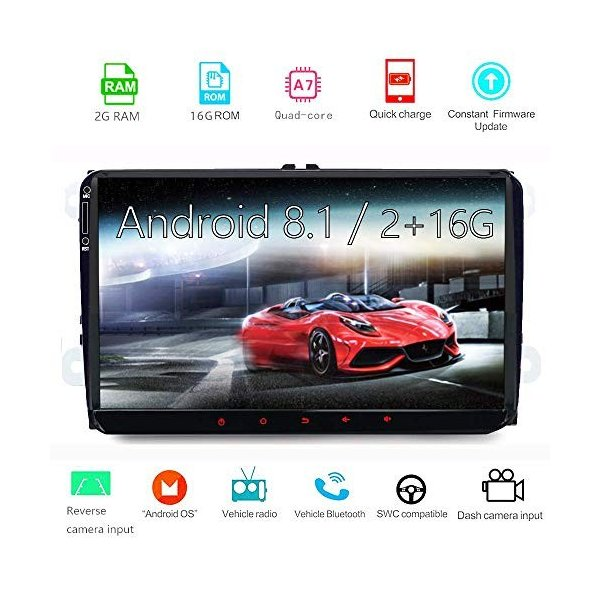 Car Navigation Stereo Android8.1,9 inch Touch Screen for Volkswagen Machine Double Din 2G//16G Quad Core Built-in GPS//Bluetooth 4.0 Car Multimedia Radio WIFI//4G//3G OBD2 Connection
