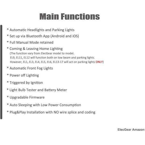 Automatic Light Sensor Headlight Switch EL15 Bluetooth Control ...