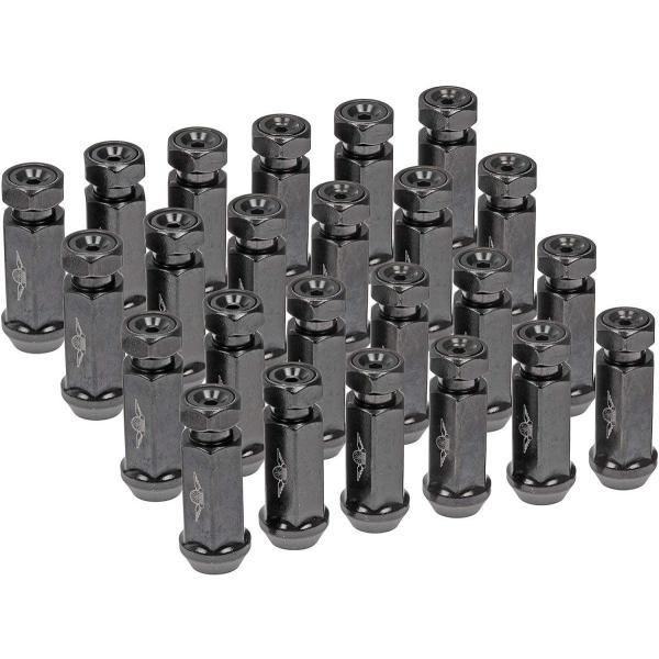 Black Pack of 24 Dorman 712-645AXL Racing Style XL M14-1.50 Lug Nuts for Select Models
