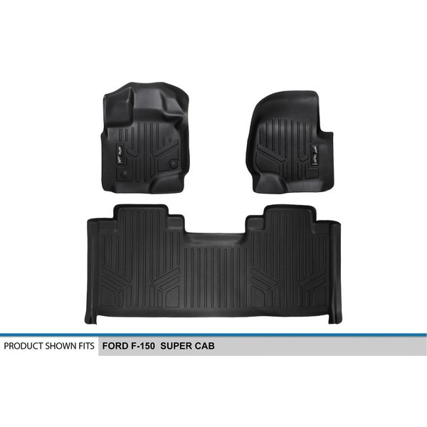 SMARTLINER Floor Mats 1st Row Liner Set Black for 2015-2018 Ford F-150 SuperCab or SuperCrew Cab