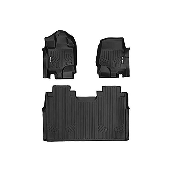 SMARTLINER Custom Fit Floor Mats 2 Row Liner Set Black for 2015-2019 Ford F-150 SuperCrew Cab with 1st Row Bench Seat