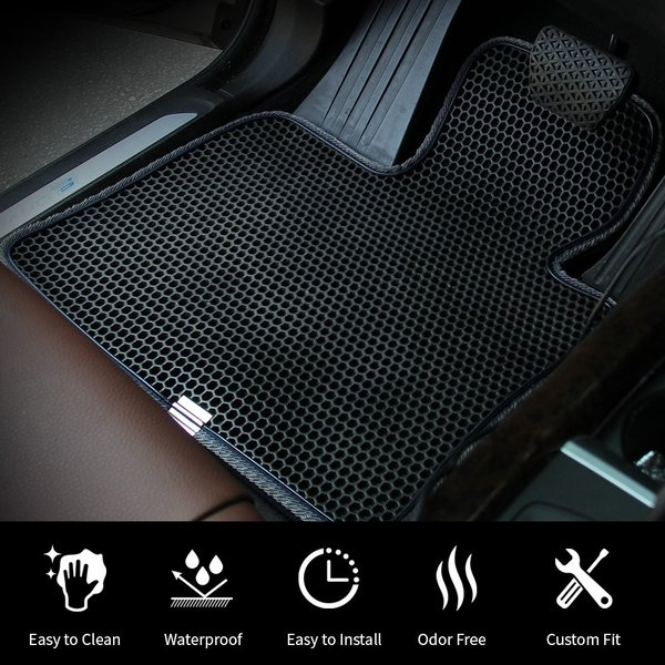 Motliner Floor Mats EVA Material Custom Fit with Dual Layered Honeycomb Design for Ford Escape 2013-2018 C-Max 2013-2018 All Weather Heavy Duty Protection for Front and Rear Easy to Clean.