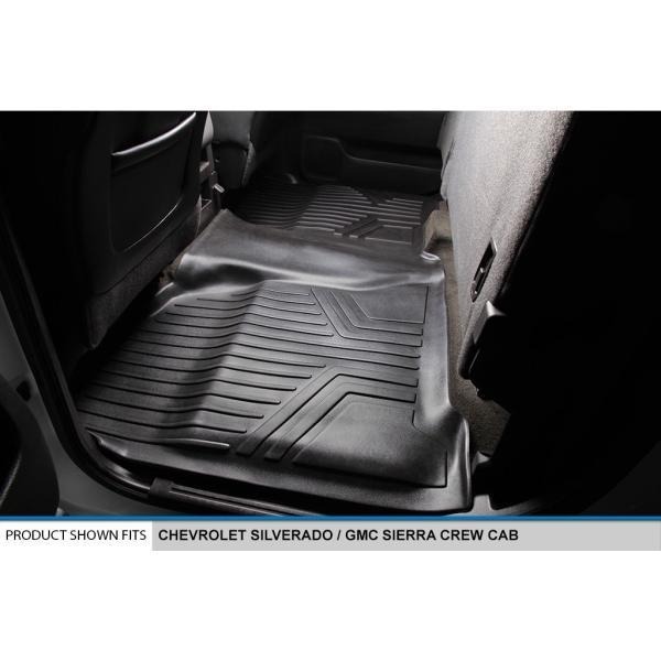 SMARTLINER Custom Fit Floor Mats 2 Row Liner Set Black for Crew Cab 2014-2018 Silverado//Sierra 1500-2015-2019 2500//3500 HD