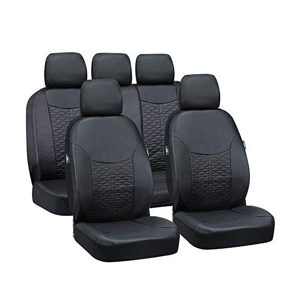 Fit Most Car Truck Leatherette Car Seat Covers for Honda Civic 2014 Full Set Breathable Waterproof Front Back Cover with 5 Detachable Headrests Big Ant Seat Covers SUV Black or Van