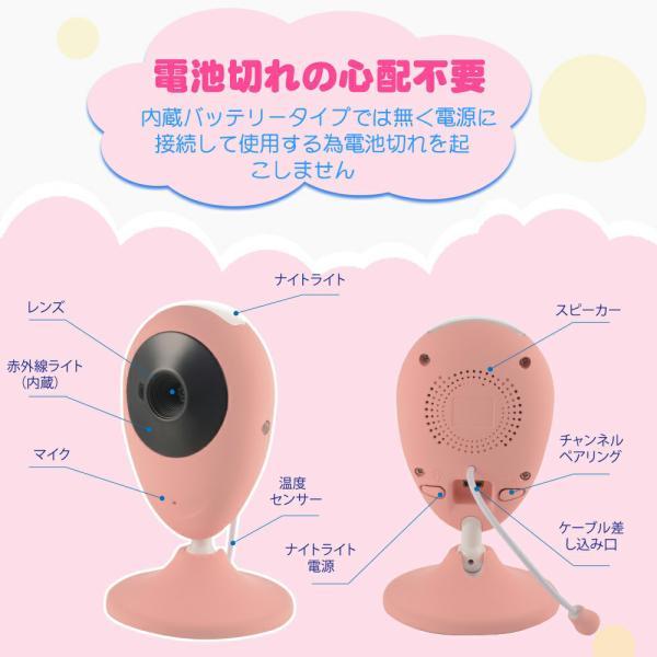 ベビーモニター ワイヤレス 遠隔操作 暗視対応 双方向音声 2倍ズーム 設定簡単 日本語説明書 子供育て 年寄り介護等 JP201 VisionKids|halhal|02
