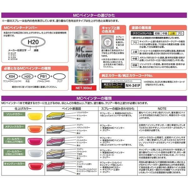 MCペインター(ペイントスプレー)C34 補助塗料キャンディー カラークリア(オレンジA) DAYTONA(デイトナ)|hamashoparts|02