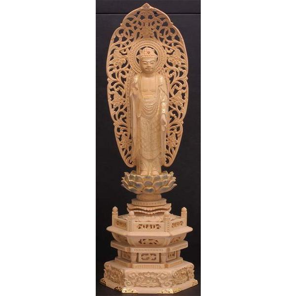 御仏像 阿弥陀如来立像御本尊  浄土宗用  カヤ六角台淡彩色金具打4.5寸   お仏壇・仏具の浜屋