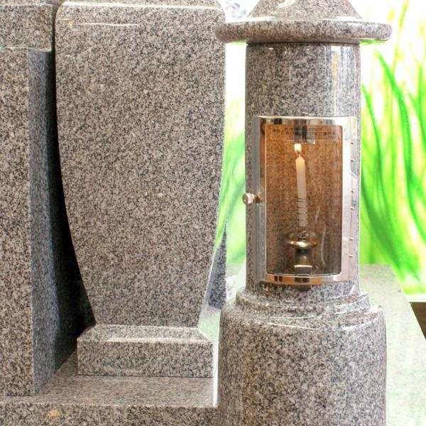 石のローソク立てガラス風防付 BB-3<大型>  AG-98 1対 お墓・墓参り・ローソク・ろうそく・蝋燭  お仏壇・仏具の浜屋   仏壇
